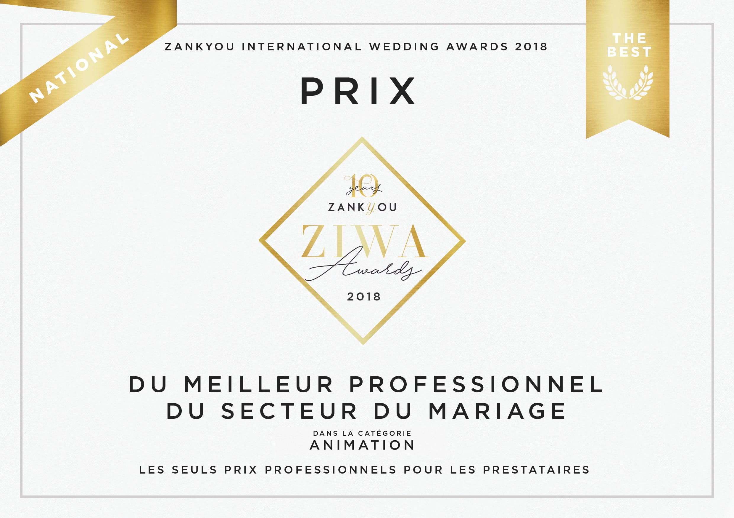 Diplome Zankyou International Wedding Awards